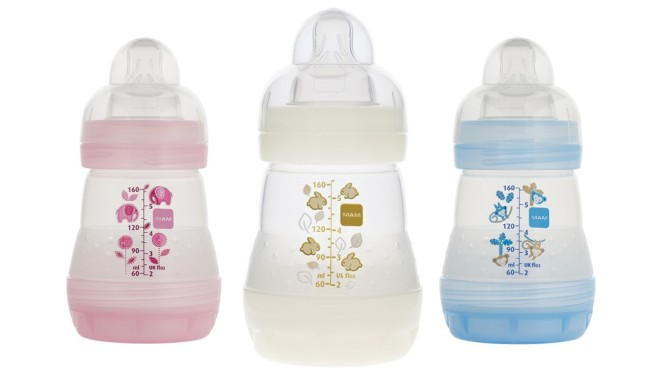 Mam bottles are anti-colic and they have a vented base to prevent gas bubbles. The top is shaped as a nipple with a fat middle. The bottle is nice to hold as well. It comes in a variety of colors including: pink, blue, and white/cream.