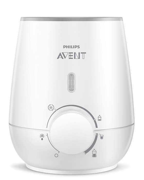"Avent Bottle warmer. It has an LED indicator when it is plugged in. in the middle of the warmer but toward the ""base"" is an knob for difference heat setting depending on the bottle."